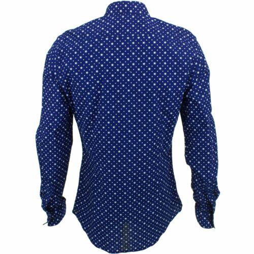 Camicia da uomo forte Originals Stelle Slim Fit Blu Retro Psichedelico Costume