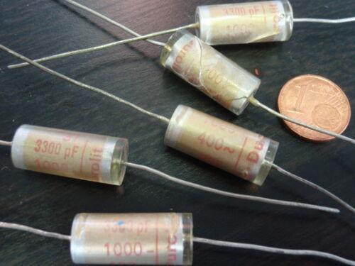 Nostalgia condensador 3,3nf 1000v = durolit Wima Styroflex d10x21mm 5x 25547