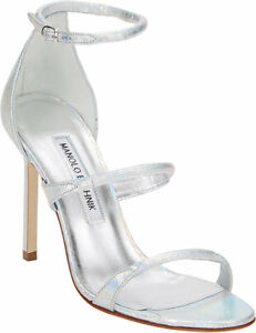 e87220186a2 Image is loading 995-New-Manolo-Blahnik-Bombita-SNAKE-Silver-Strappy-
