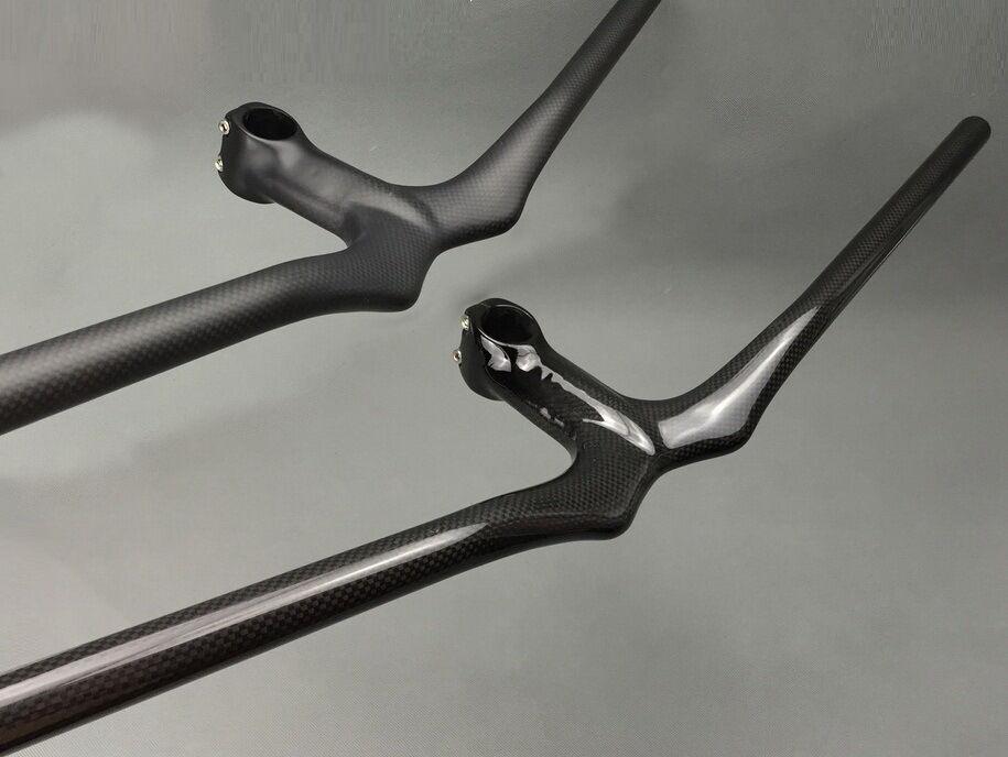 Carbon Fiber MTB Road Mountain Bike Bicycle riser Handlebar Integrated Bar Stem
