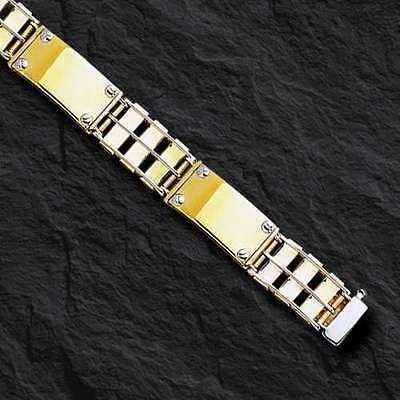 """14k Solid Gold Link Men's Bracelet 8.5""""  11 MM  26 grams"""