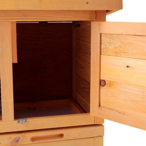 "36/"" Wooden Rabbit Hutch Chicken Coop Waterproof Wood Hen House Poultry Pet Cage"