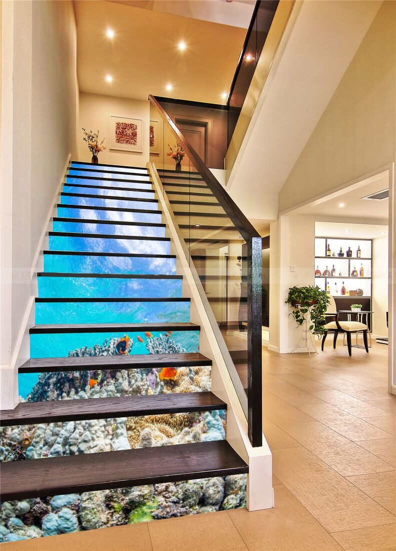 3D Marine reef 7 Stair Risers Decoration Photo Mural Vinyl Decal Wallpaper UK