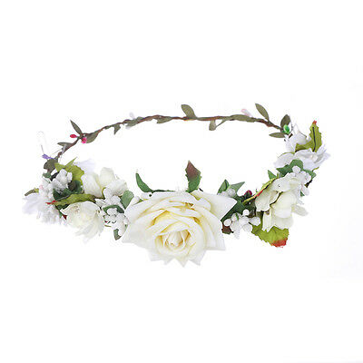 Rose Flower Crown Hair band Wedding Garland Headband Festival Wreath Headdress