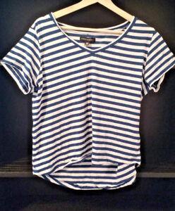 Danni-Minogue-16P-Petites-Ladies-stripe-white-amp-blue-sparkle-short-sleeve-Tshirt
