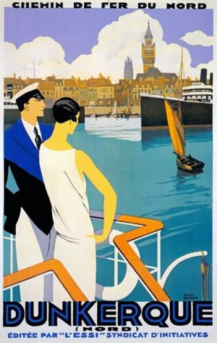 TX360 Vintage Dunkerque Dunkirk France French Travel Poster Broders Print A3//A4