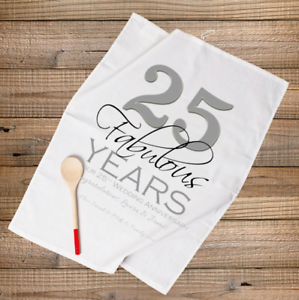 25 Wedding Anniversary Gift.Details About Personalised Tea Towel Silver 25th Wedding Anniversary Gift 25 Fabulous Years