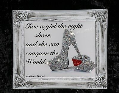 Wall Art. Shoe Quote Glitter Canvas Picture Silver Shabby Chic frame