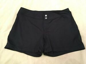 Athleta-Medium-Swimsuit-Boyshort-Shorts-Bottom-Black-Faux-Buttons