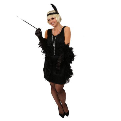 Mesdames noir deluxe clapet fancy dress costume années 1920 charleston gatsby tassel