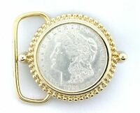 Gold Color REAL 1921 Morgan Silver Dollar Belt Buckle EPBB51