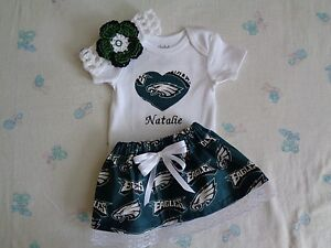 Image is loading Philadelphia-Eagles-Baby -Girl-Skirt-Personalized-Bodysuit-and- fd544955245
