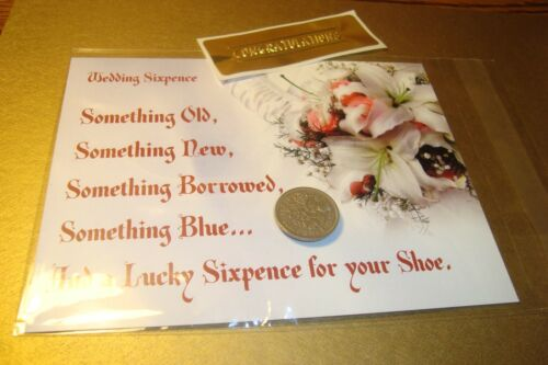 1967 British LUCKY WEDDING SIXPENCE Keepsake Coin Presentation Post Card