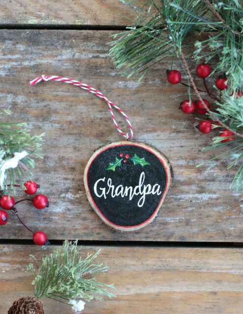 Personalized Christmas Ornament Grandpa W Holly Custom Hand Painted Wood Slice