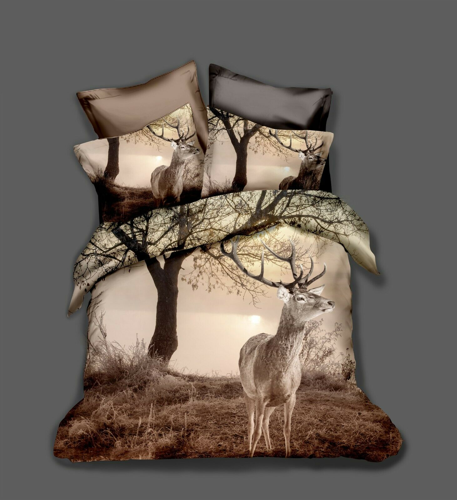 3D Retro Tree Deer courtepointe Cover Set literie couette Cover Single Queen roi 93