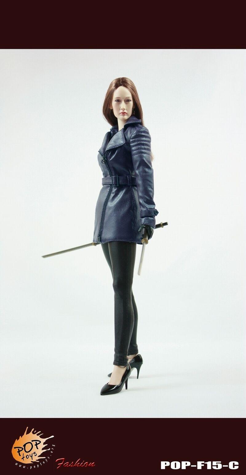 POP TOYS F15 Nikita Female Agent Leather Coat Suit bluee 1 6 NO BODY HEAD SWORD