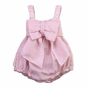 94df78d55 Toddler Baby Kids Seersucker Dress Pink Striped Girls Big Bow Romper ...