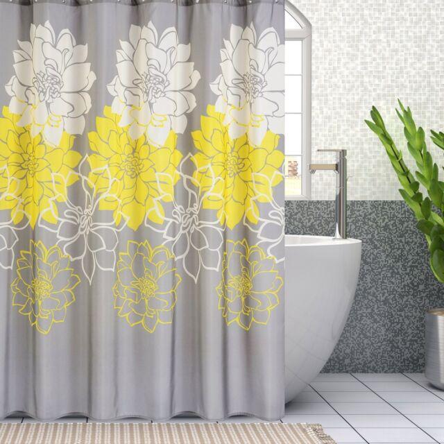 72X72 Waterproof Polyester Fabric Shower Curtain Bathroom Bath Decor Yellow  Grey