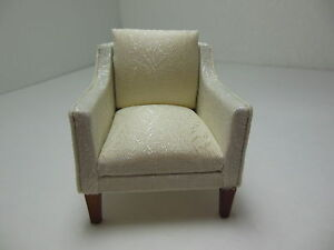 Dollhouse Miniatures Furniture 1/12: 3226-w1wn Walnut Upholstered Chair
