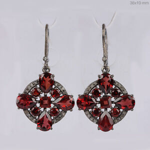 7-17Ct-Garnet-Dangle-Earrings-Solid-925-silver-sterling-Diamond-Pave-Jewelry
