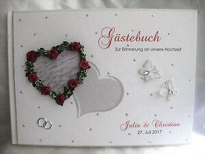 """Gästebuch Hochzeit """"Zwei Herzen"""" Tischdeko Hochzeitsdeko"""