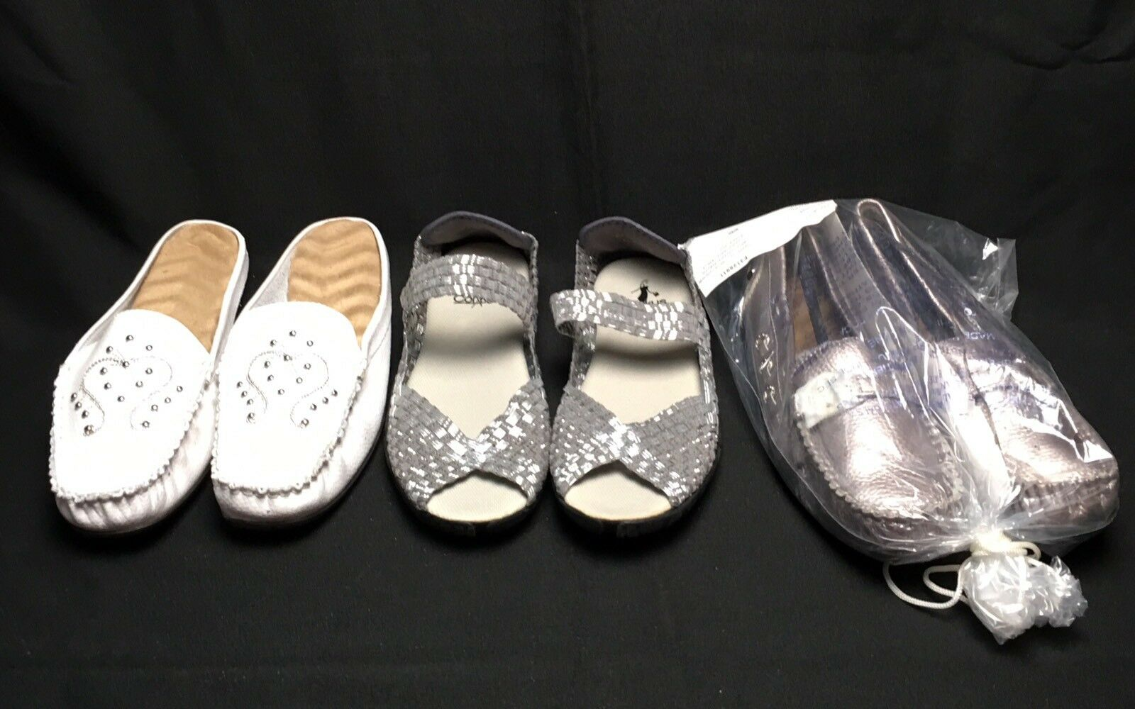 Lot 3 femmes 9 EU40 Includes Corky Sandals Metallic argent Loafers blanc Slip On