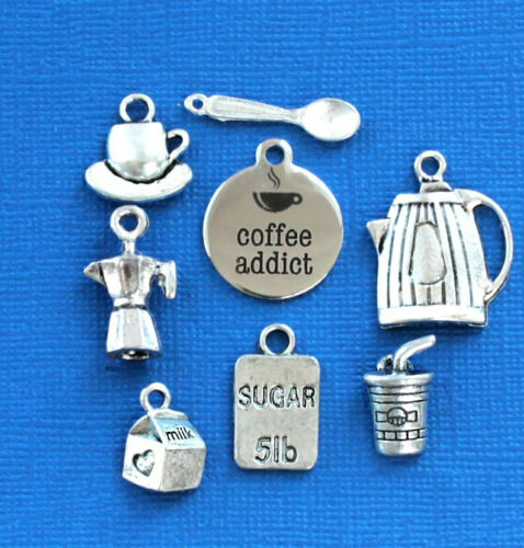 8 Different Charms COL317 Coffee Charm Collection Antique Silver Tone
