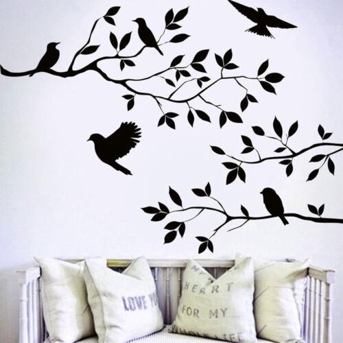 Noir Oiseaux Arbre Branch Charrette Autocollant Mural Décoration Fenêtre Chambre Art Decal