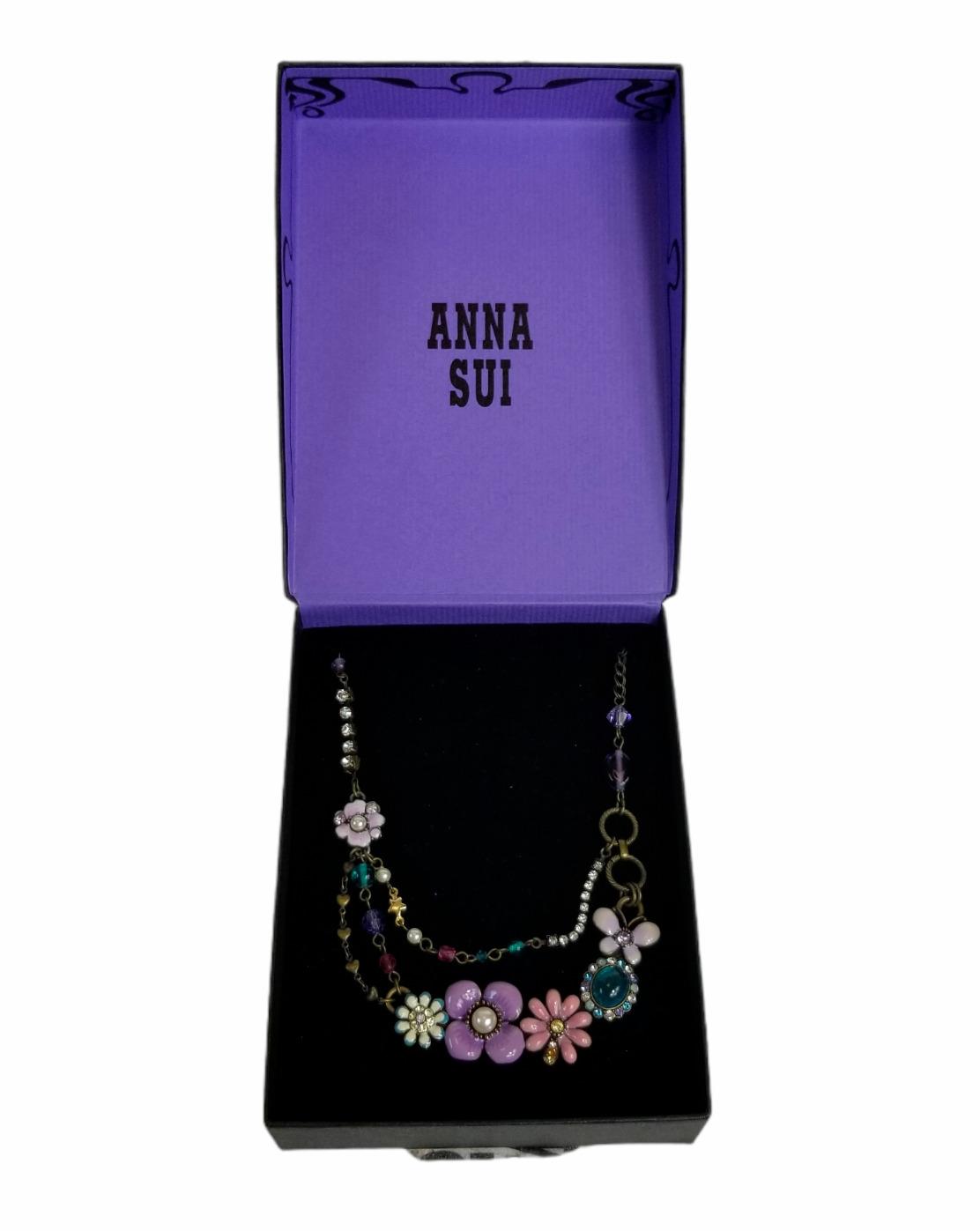 Vintage Anna Sui Flower Crystal Rhinestone Caboch… - image 1