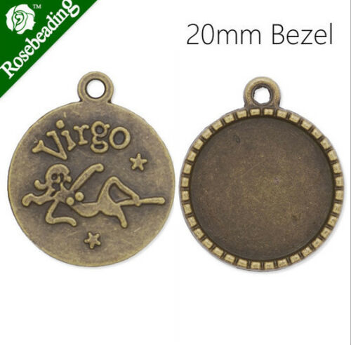 60pcs Antique Bronze 12 Zodiac Charms twelve Constellations Metal sign pendant