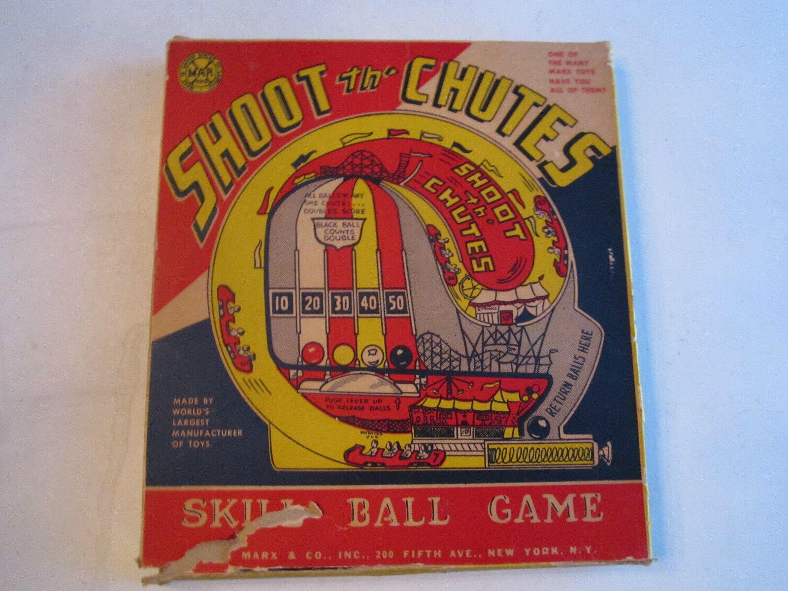VINTAGE MARX TOY - SHOOT THE CHUTES SKILL BALL GAME IN ORIGINAL BOX- TUB CCC