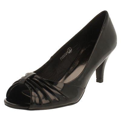 Spot On F1R0047 Ladies Black Pu Patent Peep Toe Court Shoe R33B