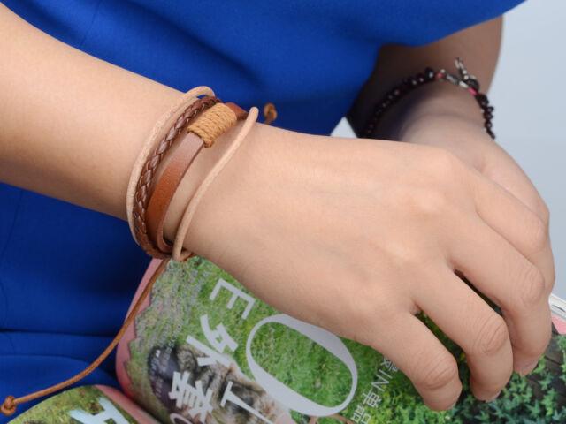 Fashion Mens Punk Handmade Black Brown Leather Surfer Braided Wristband Bracelet