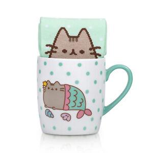 Socken-Pusheen-Katze-Meerjungfrau-mit-Kaffeebecher-Struempfe-Kaetzchen