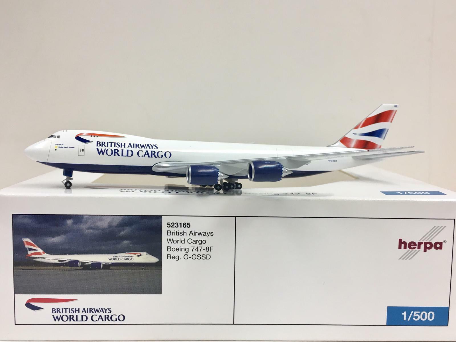 Herpa Wings British Airways World voiturego Boeing 747-8F 1 500  G-GSSD 523165  bon shopping