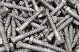 50 Hex Head 3//8 x 5 Lag Bolts Galvanized Wood Screws