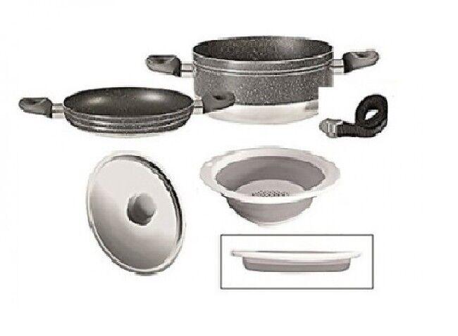 Camping brunner Alu cazuelas utensilios de cocina camping ollas cacerola gourmet 4+1ø24