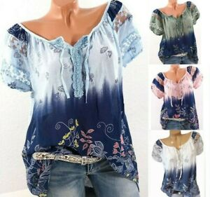 Womens-Summer-Floral-V-Neck-Blouses-Loose-Baggy-Tops-Tunic-T-Shirts-Plus-SizeCA
