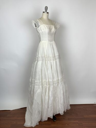 Vintage 1930s 1940s Organdy Eyelet Wedding Gown AS