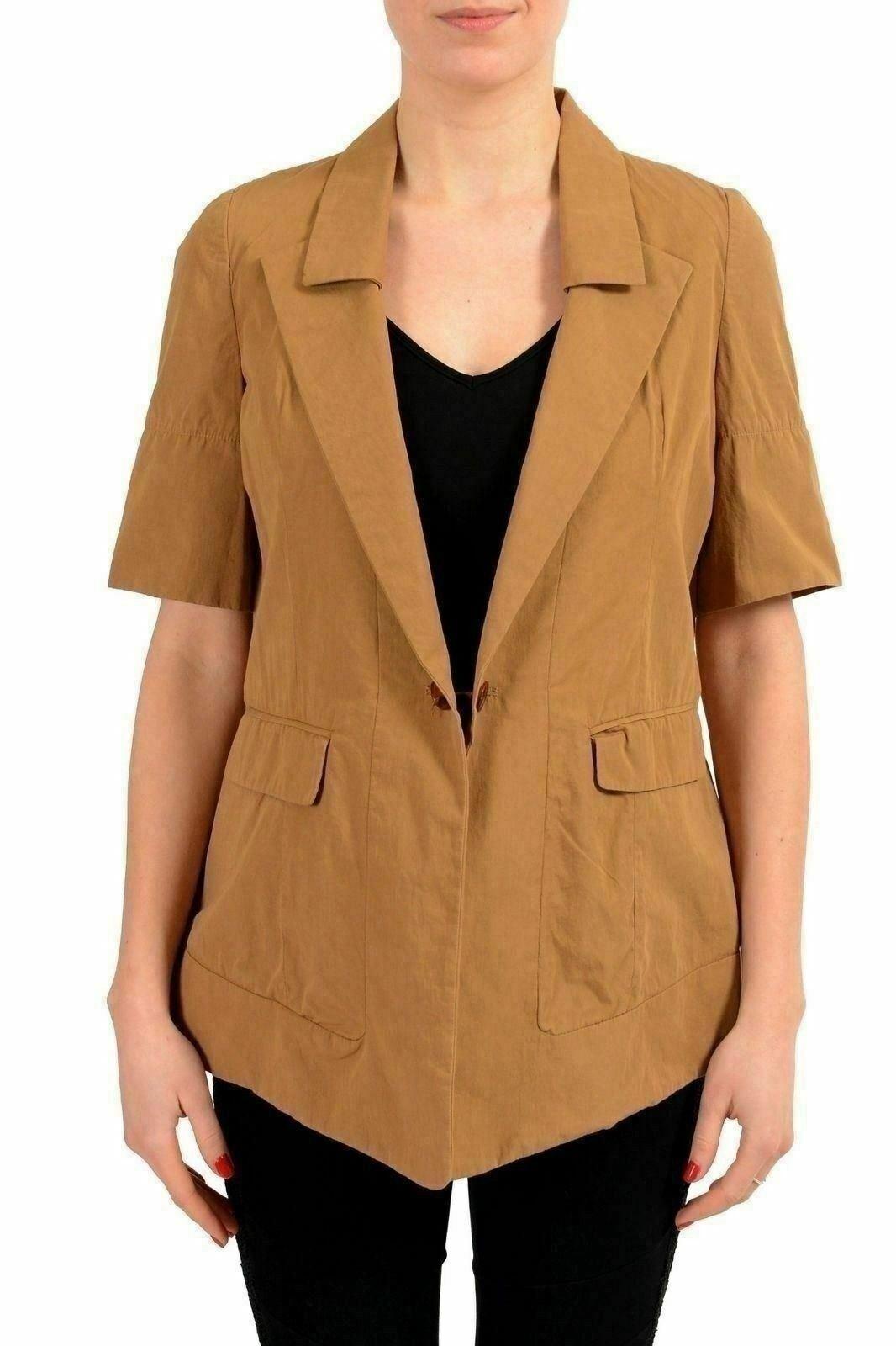 Just Cavalli Brown Short Sleeve One Button Women's Blazer US S IT 40