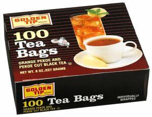 10 PACKS : Golden Tip Tea Bags, Orange Pekoe and Black Tea, 100-