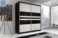 Brand Modern Sliding Door Bedroom Wardrobe 6 Ft (183cm) - Black & White F01