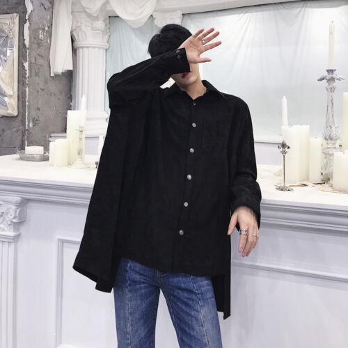 Homme Manches Longues Devant-Bouton lâche irrégulière Design Oversize Shirt Hot B433