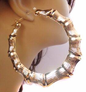 Image Is Loading Large 2 5 Inch Hoop Earrings Bamboo