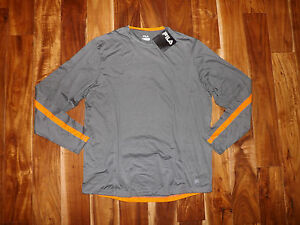 NWT Mens FILA Gray Orange Athletic Exercise Fitness Running L/S Shirt Sz XXL 2XL