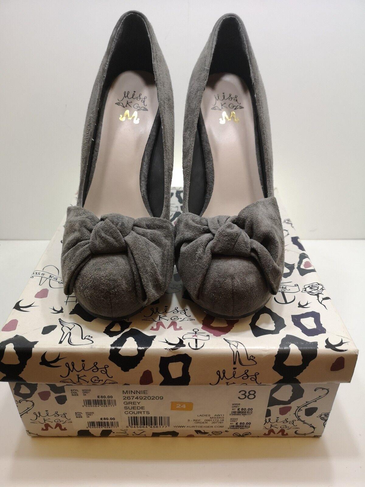Miss KG Minnie schuhe- Größe 5 grau NEW- 50's Bow Vintage Style- Kurt Geiger Suede Bow 50's a2e85c