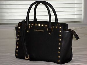 NWT Michael Kors Medium TZ SELMA STUD Satchel Bag Black Saffiano ... 61f7a914eede8