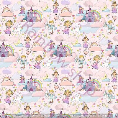 Princesse et licorne toile imprimée tissu Feuille A4 Cheveux Nœud Making Design 2