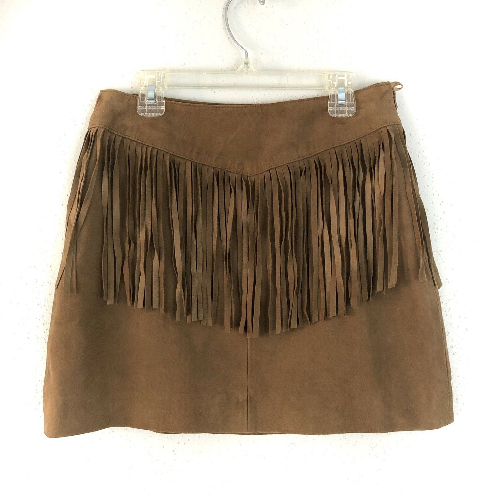 Walter Baker Leather Skirt Size 0 Riley Brown Suede Fringe Mini WB4235  398