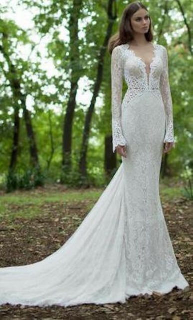 Berta Bridal 14-21 Long Sleeve Lace Wedding Gown - Size 42 - AUTH ...